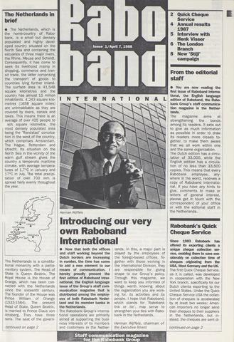 blad 'Raboband International' (EN) 1988
