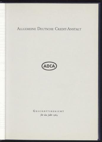 Geschäftsberichte Allgemeine Deutsche Credit-Anstalt / ADCA Bank 1964-01-01