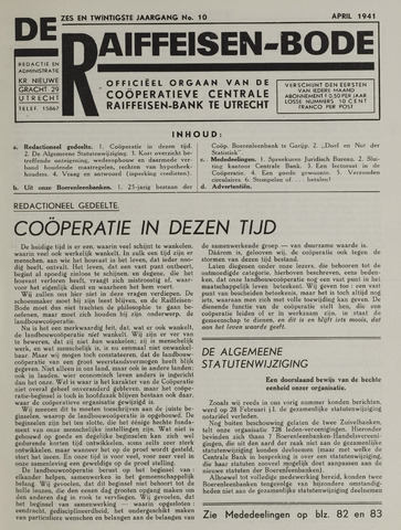 blad 'De Raiffeisen-bode' (CCRB) 1941-04-01