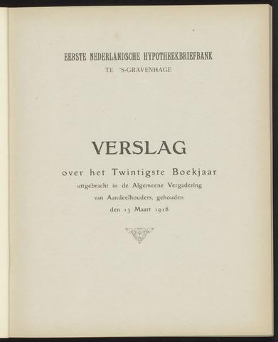 Jaarverslagen Eerste Nederlansche Hypotheekbriefbank 1917
