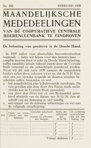 blad 'Maandelijkse Mededelingen' (CCB) 1939-02-01