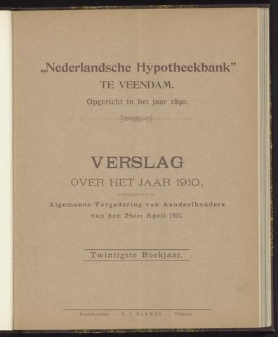 Jaarverslagen Nederlandsche Hypotheekbank 1910