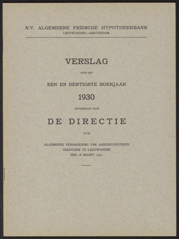 Jaarverslagen Algemeene Friesche Hypotheekbank 1930