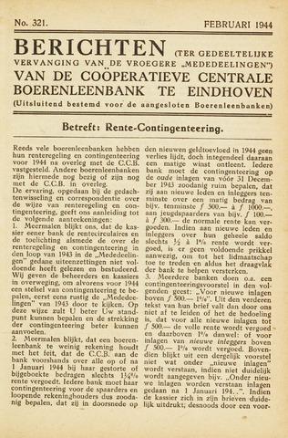 blad 'Maandelijkse Mededelingen' (CCB) 1944-02-01