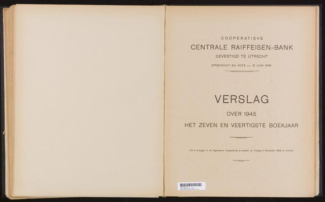 Jaarverslagen Coöperatieve Centrale Raiffeisen-Bank 1945-12-31
