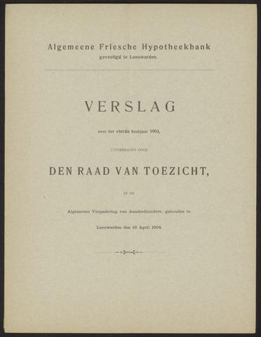 Jaarverslagen Algemeene Friesche Hypotheekbank 1903