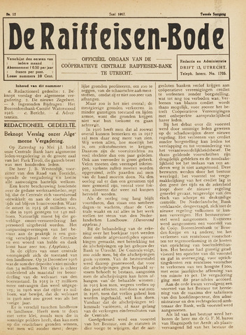 blad 'De Raiffeisen-bode' (CCRB) 1917-06-01