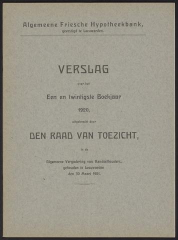 Jaarverslagen Algemeene Friesche Hypotheekbank 1920
