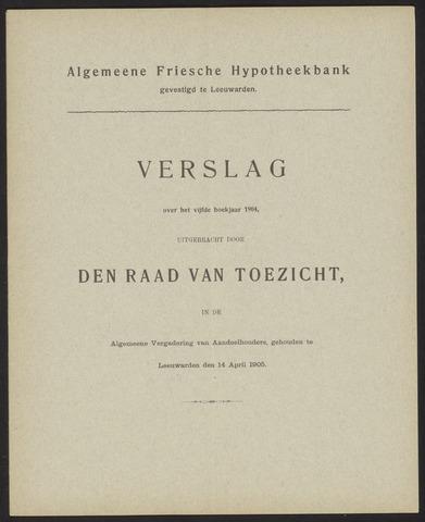 Jaarverslagen Algemeene Friesche Hypotheekbank 1904