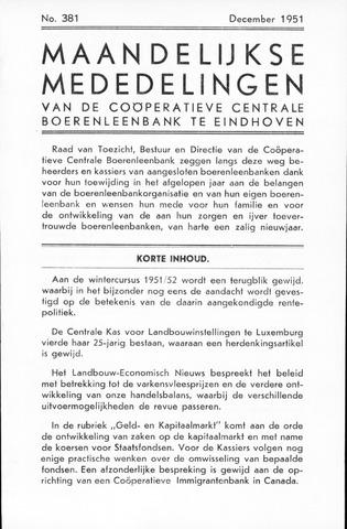 blad 'Maandelijkse Mededelingen' (CCB) 1951-12-01