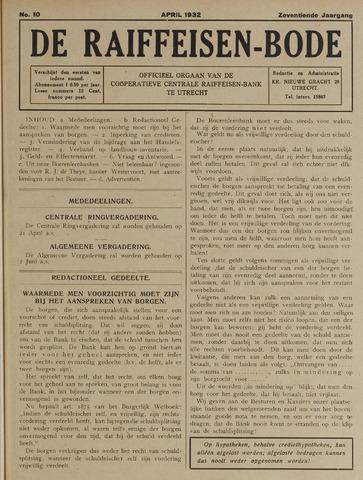 blad 'De Raiffeisen-bode' (CCRB) 1932-04-01