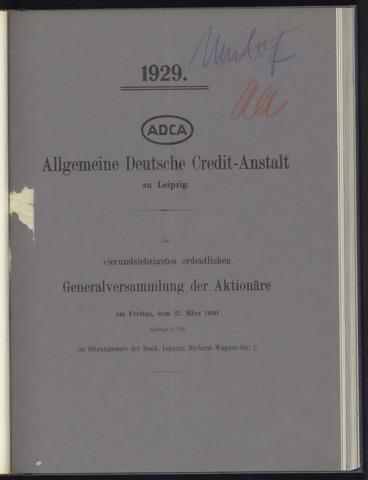 Geschäftsberichte Allgemeine Deutsche Credit-Anstalt / ADCA Bank 1929