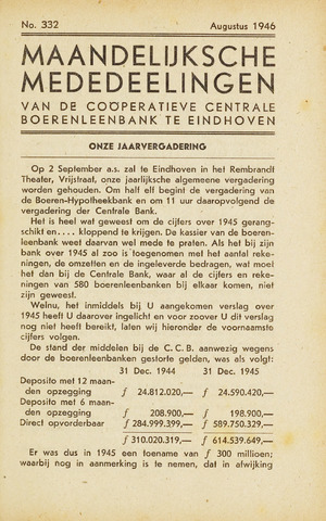 blad 'Maandelijkse Mededelingen' (CCB) 1946-08-01