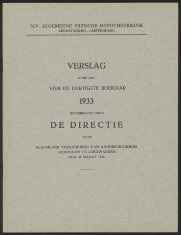 Jaarverslagen Algemeene Friesche Hypotheekbank 1933