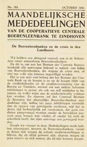 blad 'Maandelijkse Mededelingen' (CCB) 1931-10-01