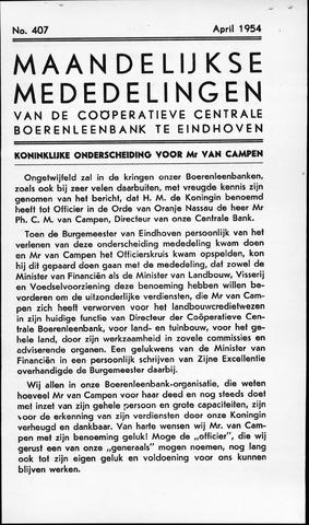blad 'Maandelijkse Mededelingen' (CCB) 1954-04-01