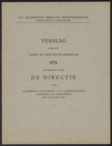 Jaarverslagen Algemeene Friesche Hypotheekbank 1931