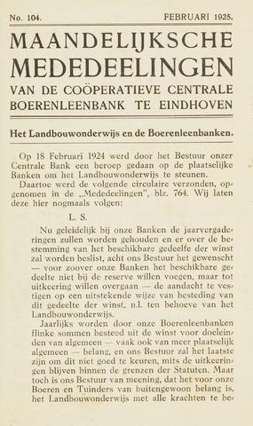 blad 'Maandelijkse Mededelingen' (CCB) 1925-02-01
