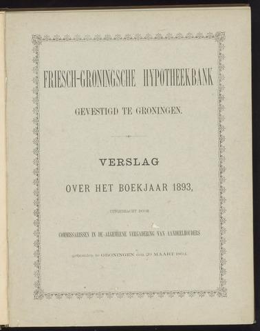 Jaarverslagen Friesch-Groningsche Hypotheekbank / FGH Bank 1893