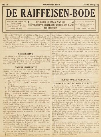 blad 'De Raiffeisen-bode' (CCRB) 1924-08-01