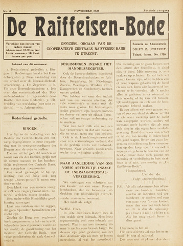 blad 'De Raiffeisen-bode' (CCRB) 1921-11-01