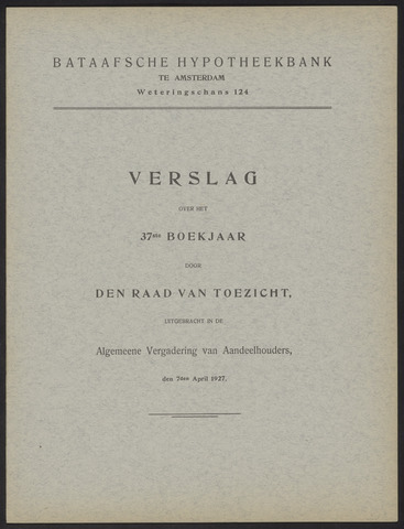 Jaarverslagen Bataafsche Hypotheekbank 1926
