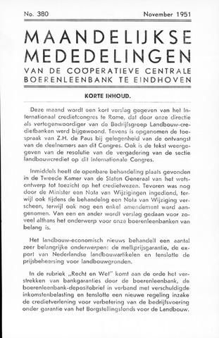 blad 'Maandelijkse Mededelingen' (CCB) 1951-11-01