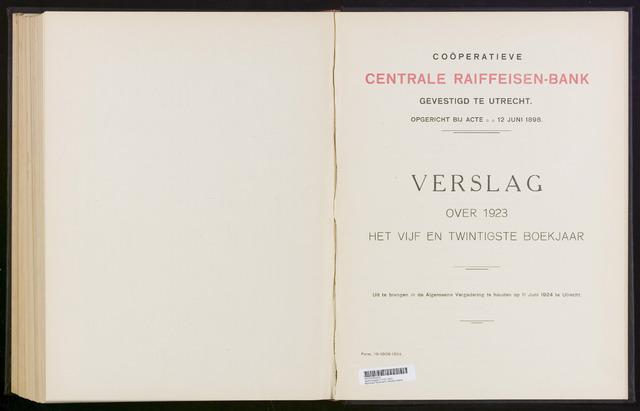 Jaarverslagen Coöperatieve Centrale Raiffeisen-Bank 1923-12-31
