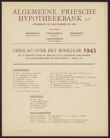 Jaarverslagen Algemeene Friesche Hypotheekbank 1943