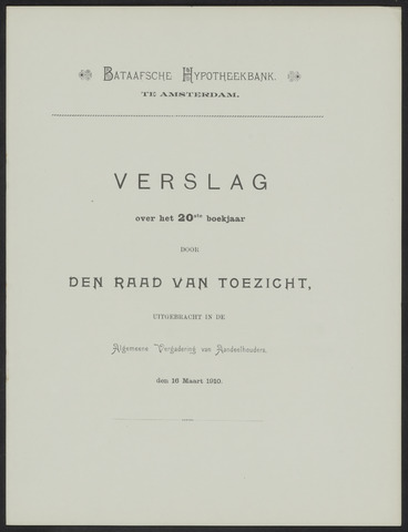 Jaarverslagen Bataafsche Hypotheekbank 1909