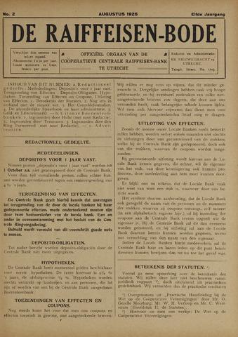 blad 'De Raiffeisen-bode' (CCRB) 1925-08-01