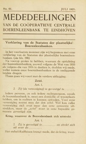 blad 'Maandelijkse Mededelingen' (CCB) 1921-07-01