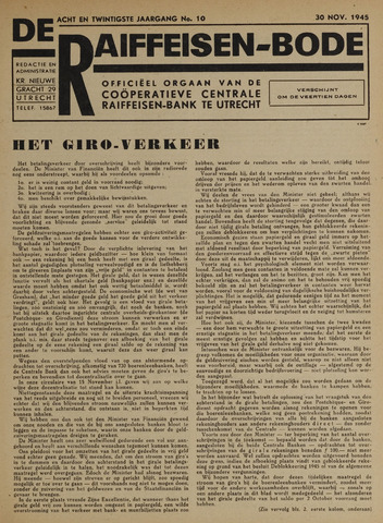 blad 'De Raiffeisen-bode' (CCRB) 1945-11-30