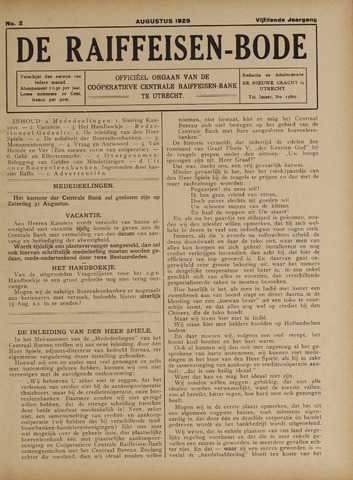 blad 'De Raiffeisen-bode' (CCRB) 1929-08-01