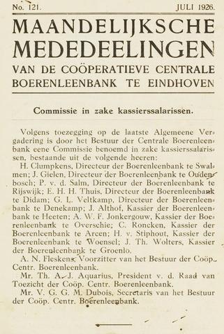 blad 'Maandelijkse Mededelingen' (CCB) 1926-07-01