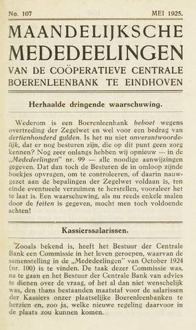 blad 'Maandelijkse Mededelingen' (CCB) 1925-05-01