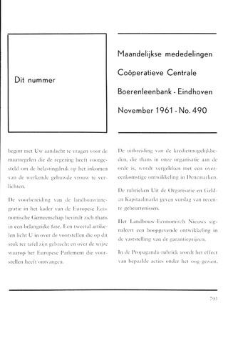 blad 'Maandelijkse Mededelingen' (CCB) 1961-11-01