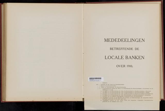 Mededelingen lokale banken CCRB 1910-12-31