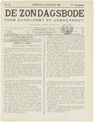 De Zondagsbode voor Zandvoort en Aerdenhout 1912-08-11