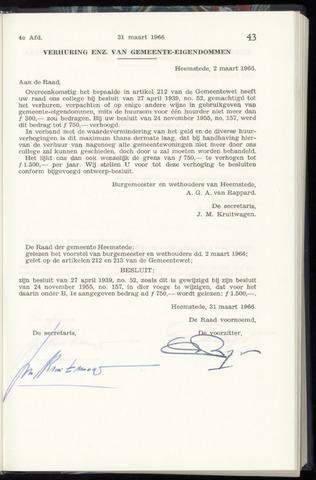 Raadsnotulen Heemstede 1966-03-31