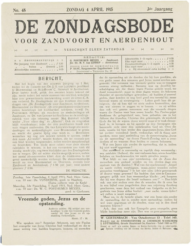 De Zondagsbode voor Zandvoort en Aerdenhout 1915-04-04