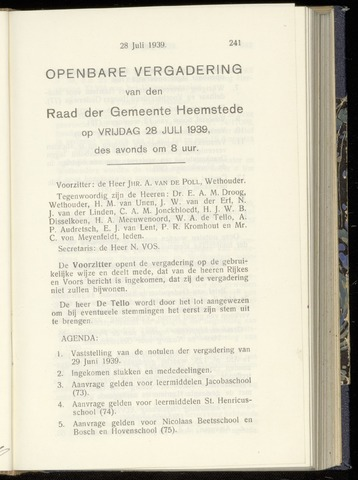 Raadsnotulen Heemstede 1939-07-28