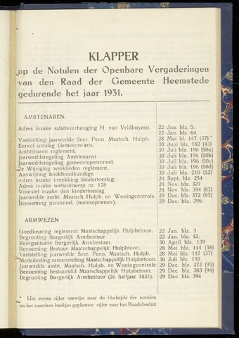Raadsnotulen Heemstede 1931-01-01