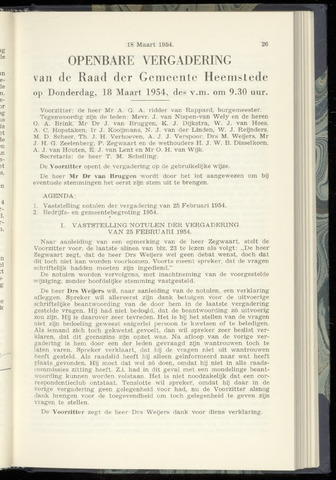 Raadsnotulen Heemstede 1954-03-18