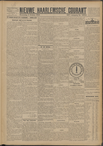 Nieuwe Haarlemsche Courant 1923-10-03
