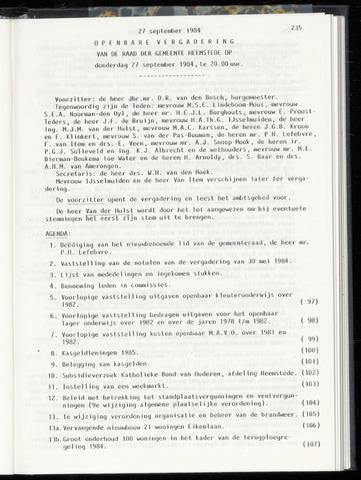 Raadsnotulen Heemstede 1984-09-27