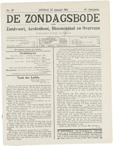 De Zondagsbode voor Zandvoort en Aerdenhout 1916-01-23