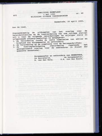 Raadsnotulen Heemstede 1990-05-01