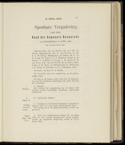 Raadsnotulen Heemstede 1926-04-15