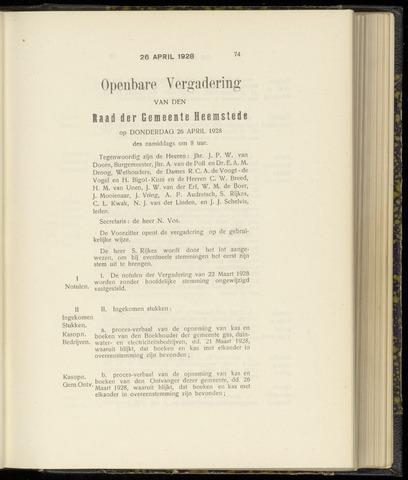 Raadsnotulen Heemstede 1928-04-26